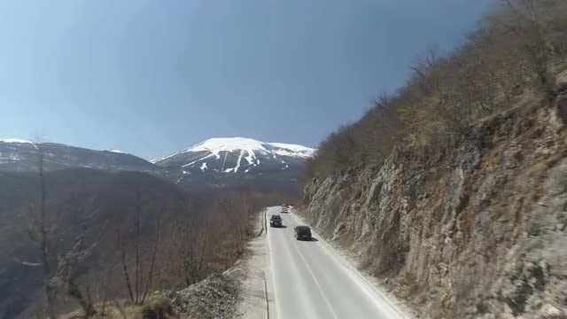 Cars Drive On Mountain: Stock Video