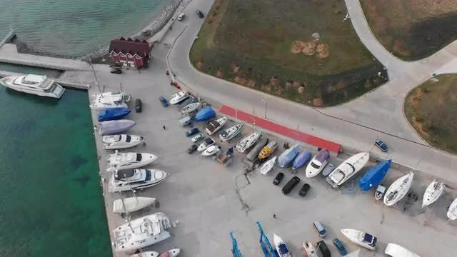 Yacht Club Top View: Stock Video