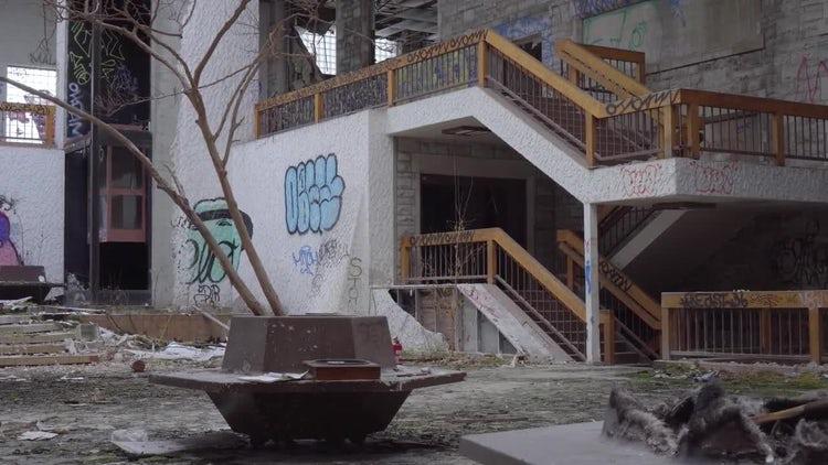 Abandoned Courtyard: Stock Video