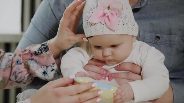 Parents Bond With Baby: Stock Video