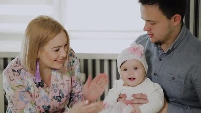 Parents With Little Daughter: Stock Video