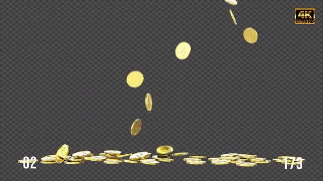 Falling Gold Coins Pack: Stock Motion Graphics