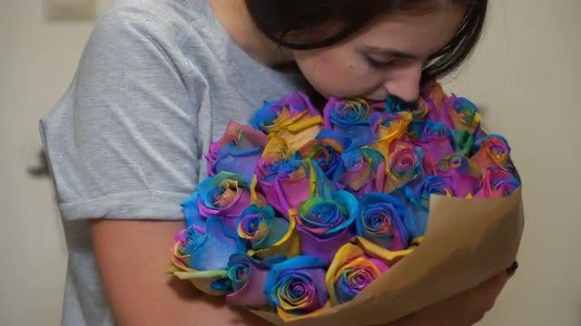 Appreciating A Rainbow Bouquet: Stock Video