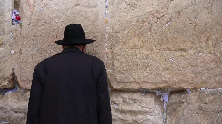 Man Praying At Wailing Wall - Stock Video   Motion Array