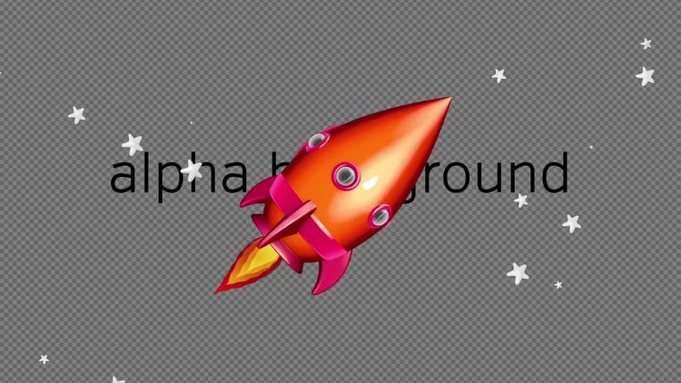 Cartoon Space Rocket 02: Stock Motion Graphics