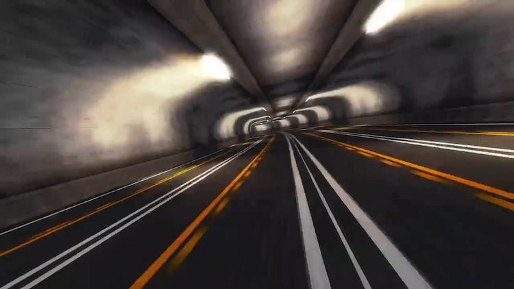 Abstract Speed Highway Road Tunnel 04: Stock Motion Graphics