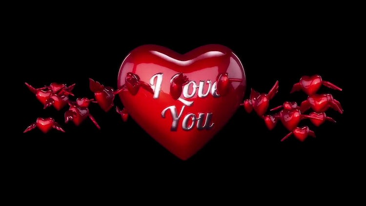 3D hearts for Valentines Day or Wedding 01: Stock Motion Graphics