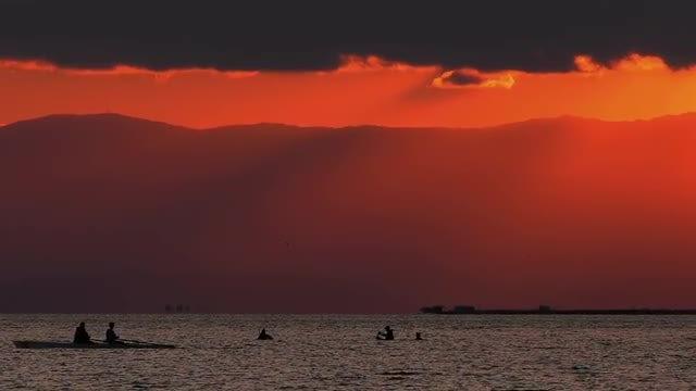Fishermen Riding Canoes: Stock Video