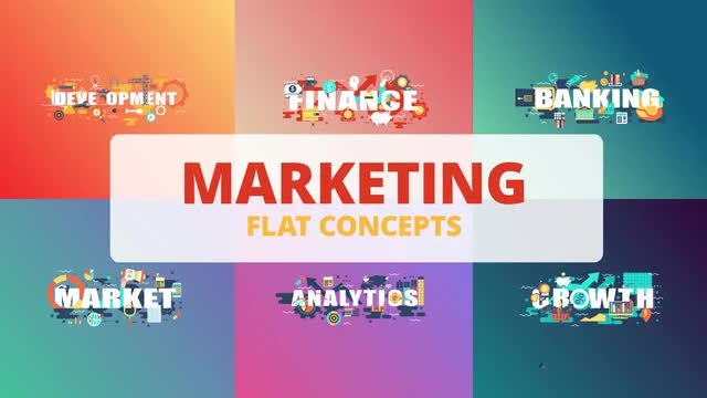 Marketing - Word Flat Concept: After Effects Templates