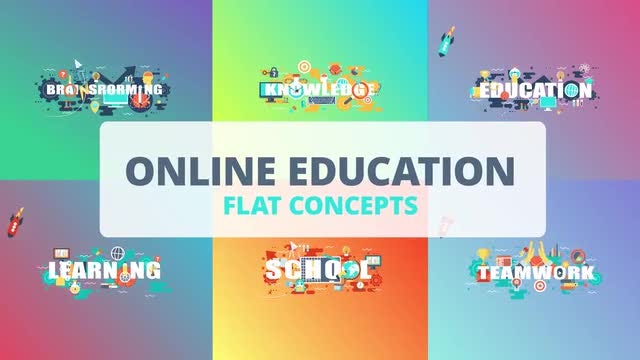 Online Education - Word Flat Concept: After Effects Templates