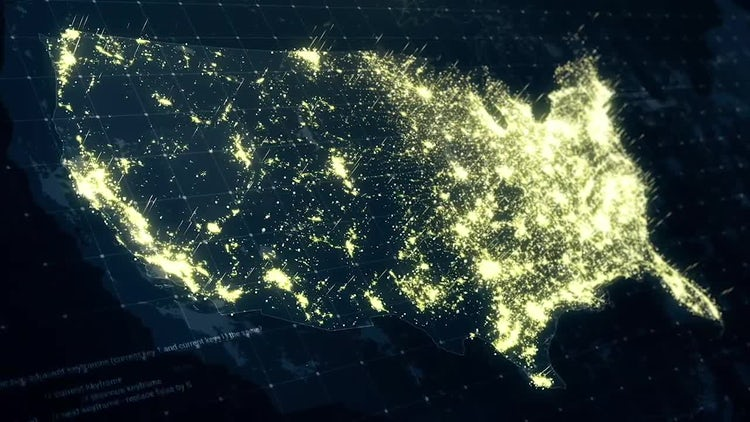 Pack of USA Maps At Night: Stock Motion Graphics