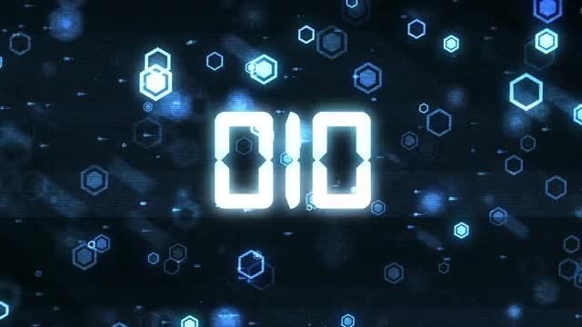 Hexa Glitch Countdown: Stock Motion Graphics