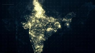 Pack of India Maps At Night: Motion Graphics