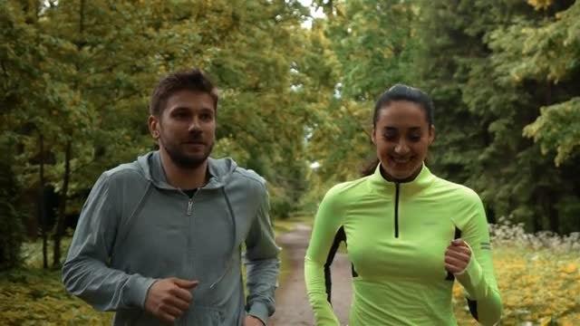 Communicating During Morning Jog: Stock Video