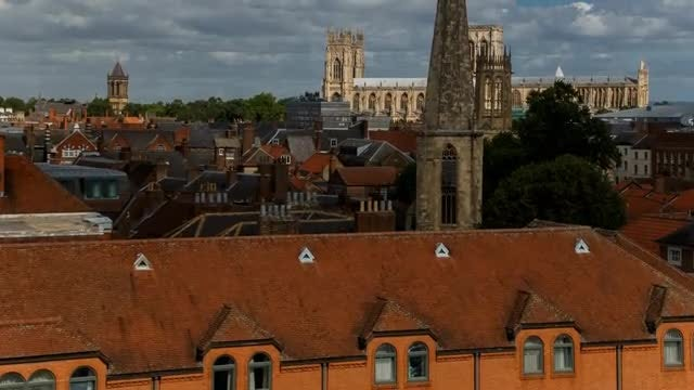 Aerial Shot Of York Town: Stock Video