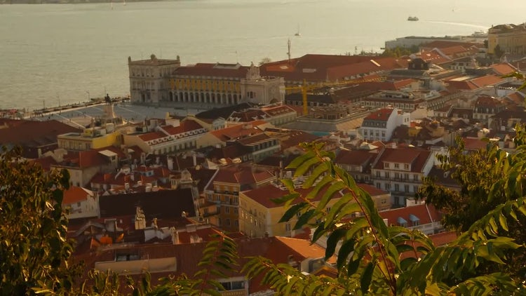 Lisbon Downtown At Sunset: Stock Video