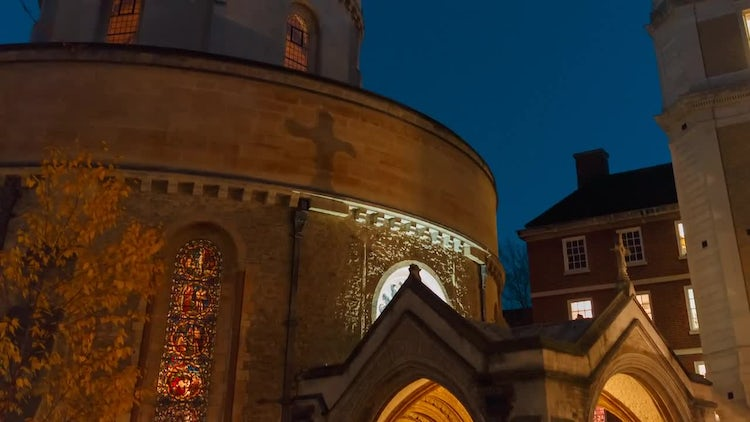 Temple Church At Night: Stock Video