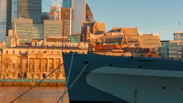 HMS Belfast In London: Stock Video