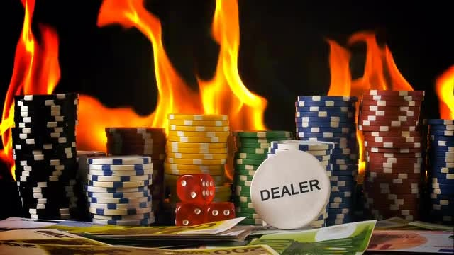 Poker And Fire: Stock Video