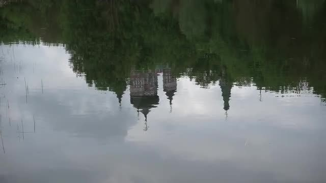 Church Reflected In Water: Stock Video