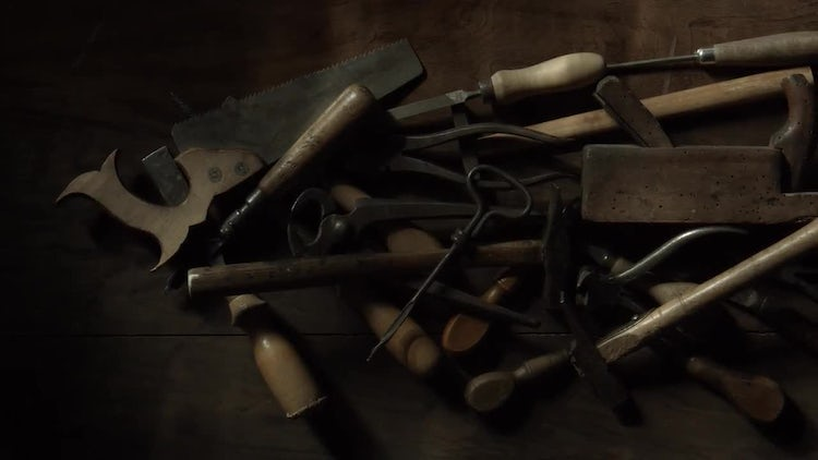 Carpentry Tools On A Table: Stock Video