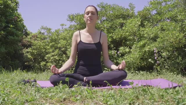 Yoga Outdoors In The Yard: Stock Video
