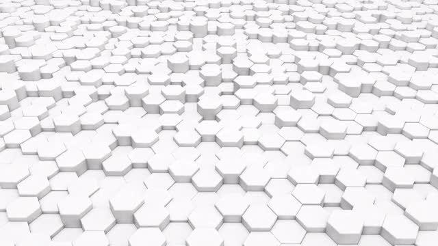 White Hexagon Background Loop: Stock Motion Graphics