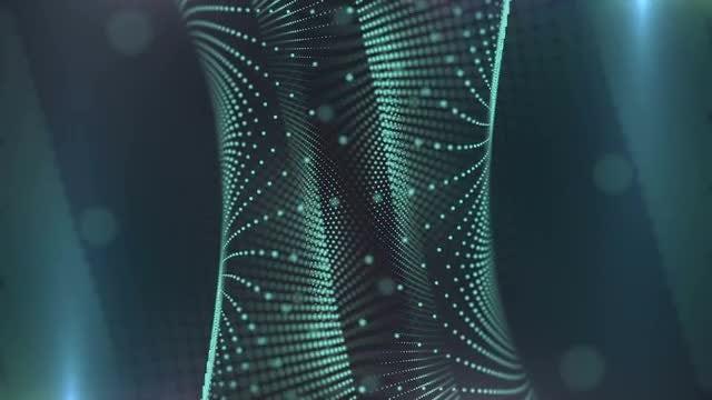 Cyan Particles Pillar: Stock Motion Graphics