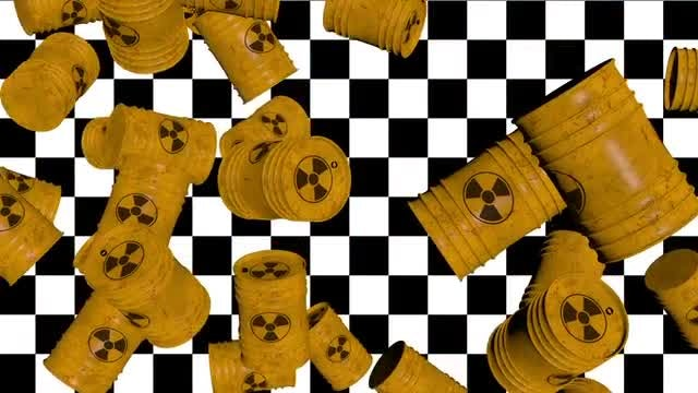 Falling Nuke Barrels Loop: Stock Motion Graphics