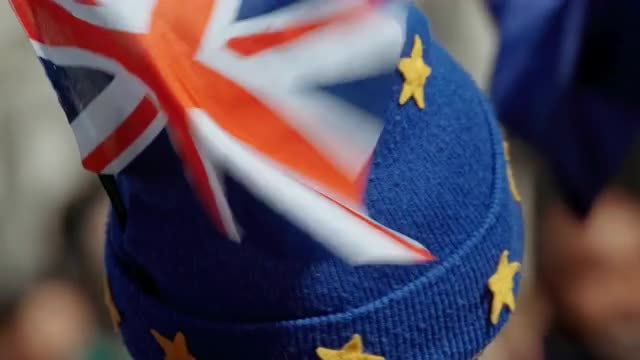 EU Supporter With Union Jack: Stock Video