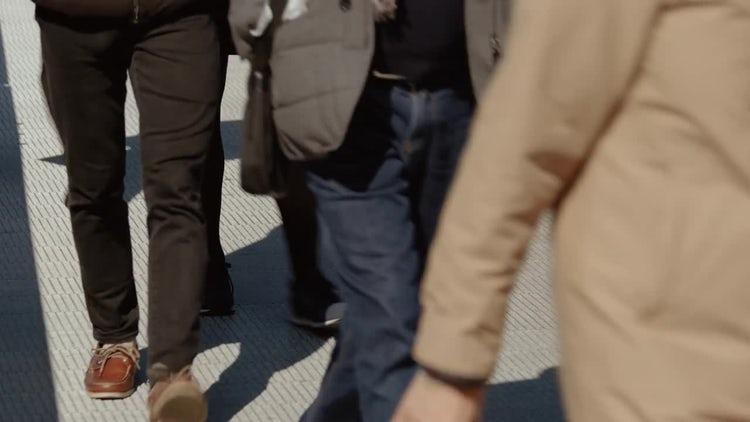 People Crossing A Bridge: Stock Video