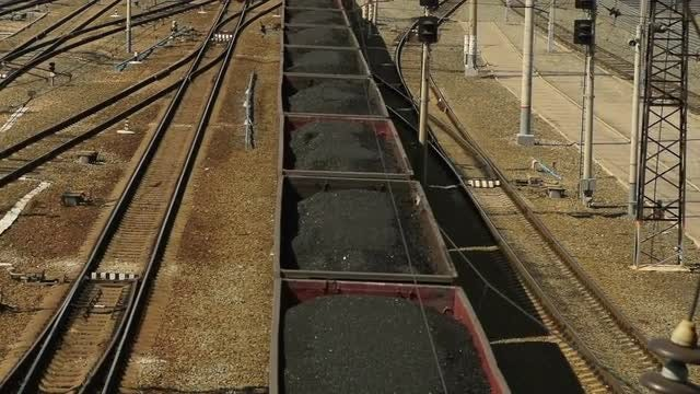 Freight Train With Coal: Stock Video