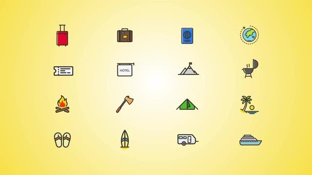 Vacation And Weekend Icons Pack: After Effects Templates