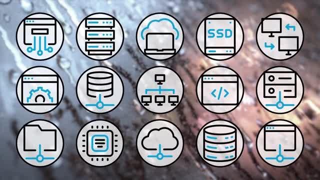 Hosting Outline Icons 4K Pack: Stock Motion Graphics