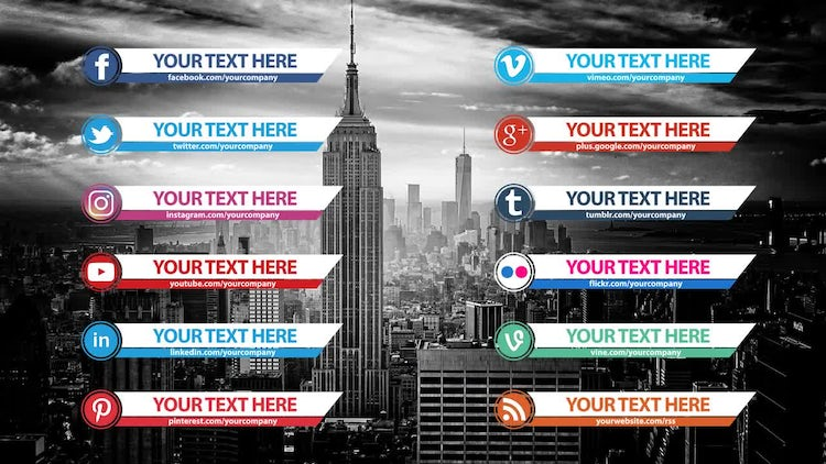 Social Media Lower Thirds Pack After Effects Templates Motion Array