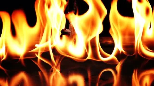 Hell Fire Burns Crucifix: Stock Video