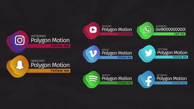 Trendy Social Media Lowerthirds: Motion Graphics Templates