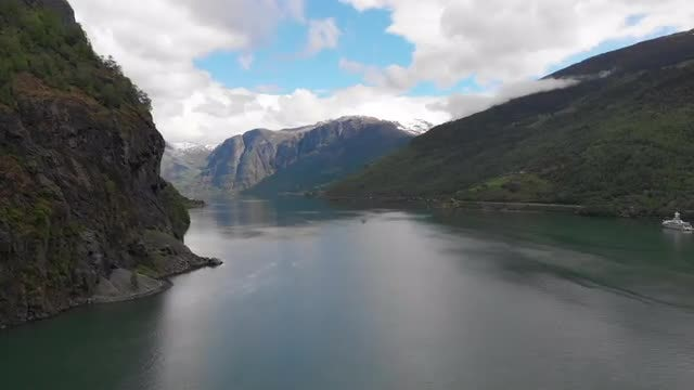 Flying Over A Fjord: Stock Video