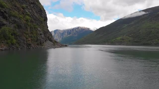 Fjord Between Mountains: Stock Video