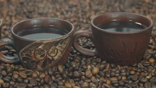 Cups Of Hot Coffee: Stock Video