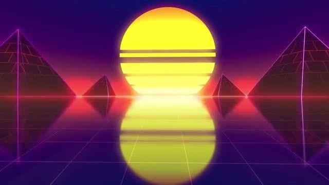Sphere-Pyramid Retro Background - Stock Motion Graphics