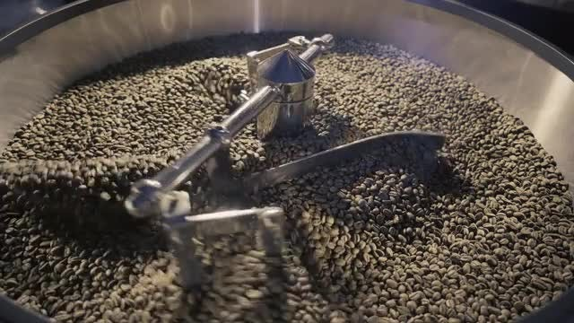 Coffee Beans In Roaster: Stock Video