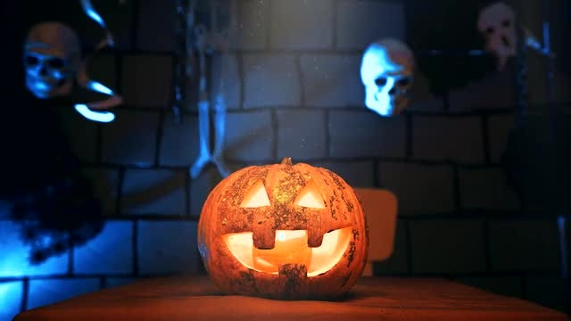 Jack-O-Lantern And Skulls: Stock Video