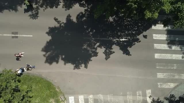 Aerial Shot Of Bikers: Stock Video