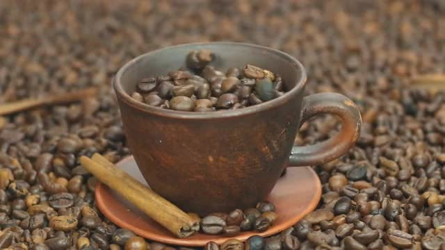 Coffee Beans In Cup: Stock Video