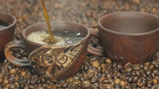 Coffee Poured Into Cups: Stock Video