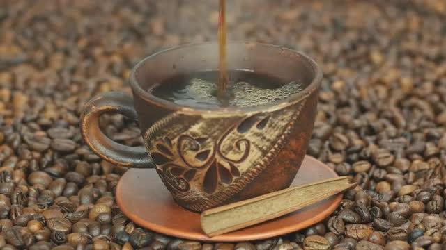 Hot Black Coffee: Stock Video