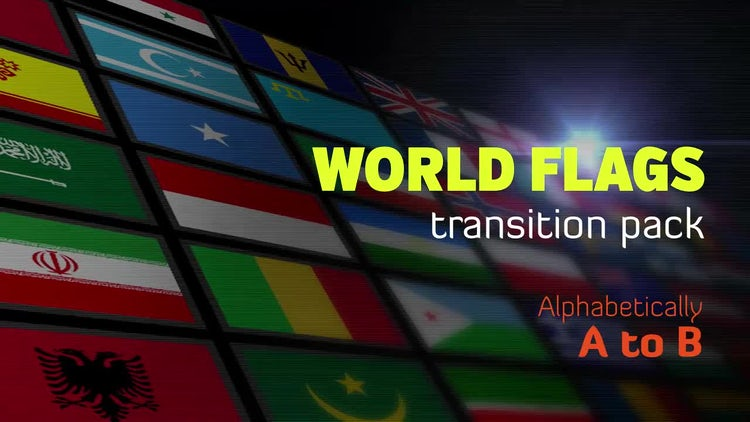 Flat World Flags Transition Pack A to B: Motion Graphics