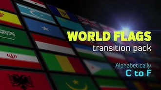 Flat World Flags Transition Pack C to F: Stock Motion Graphics