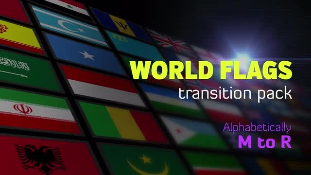 Flat World Flags Transition Pack-M to R: Stock Motion Graphics